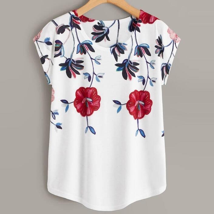Wit Casual Bloemen Grote maten T-shirts