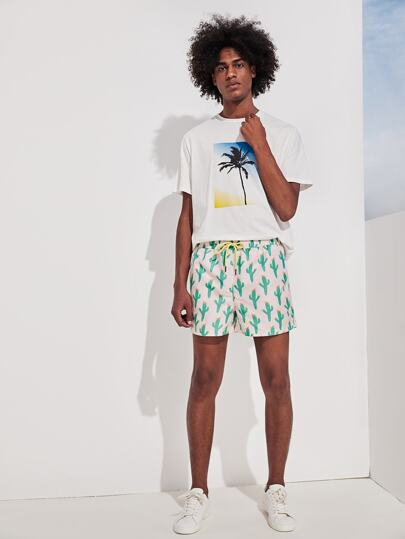 SheIn / Men Cactus Print Drawstring Waist Shorts
