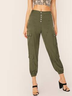 Button Fly Elastic Hem Cargo Pants