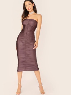 Strapless Ruched Midi Bodycon Cocktail Dress