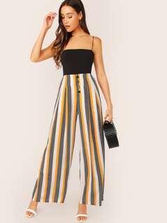 Button Fly Chevron Stripe Wide Leg Palazzo Pants