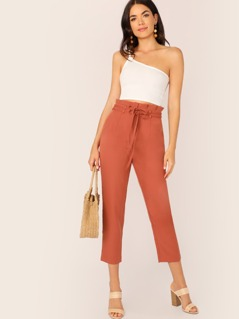 Pleated Paperbag Waist Tie Tapered Pants