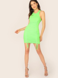 Scoop Neck Drawstring Ruched Side Neon Tank Dress