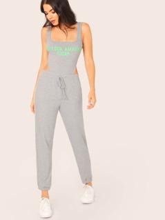 Rib Knit Graphic Sleeveless Bodysuit And Pants Set