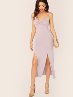 Twist Detail Double Slit Bodycon Cami Dress