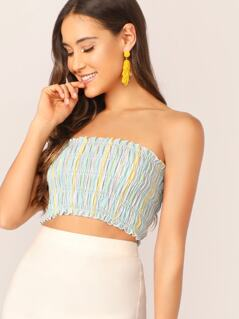 Striped Smocked Crop Tube Top