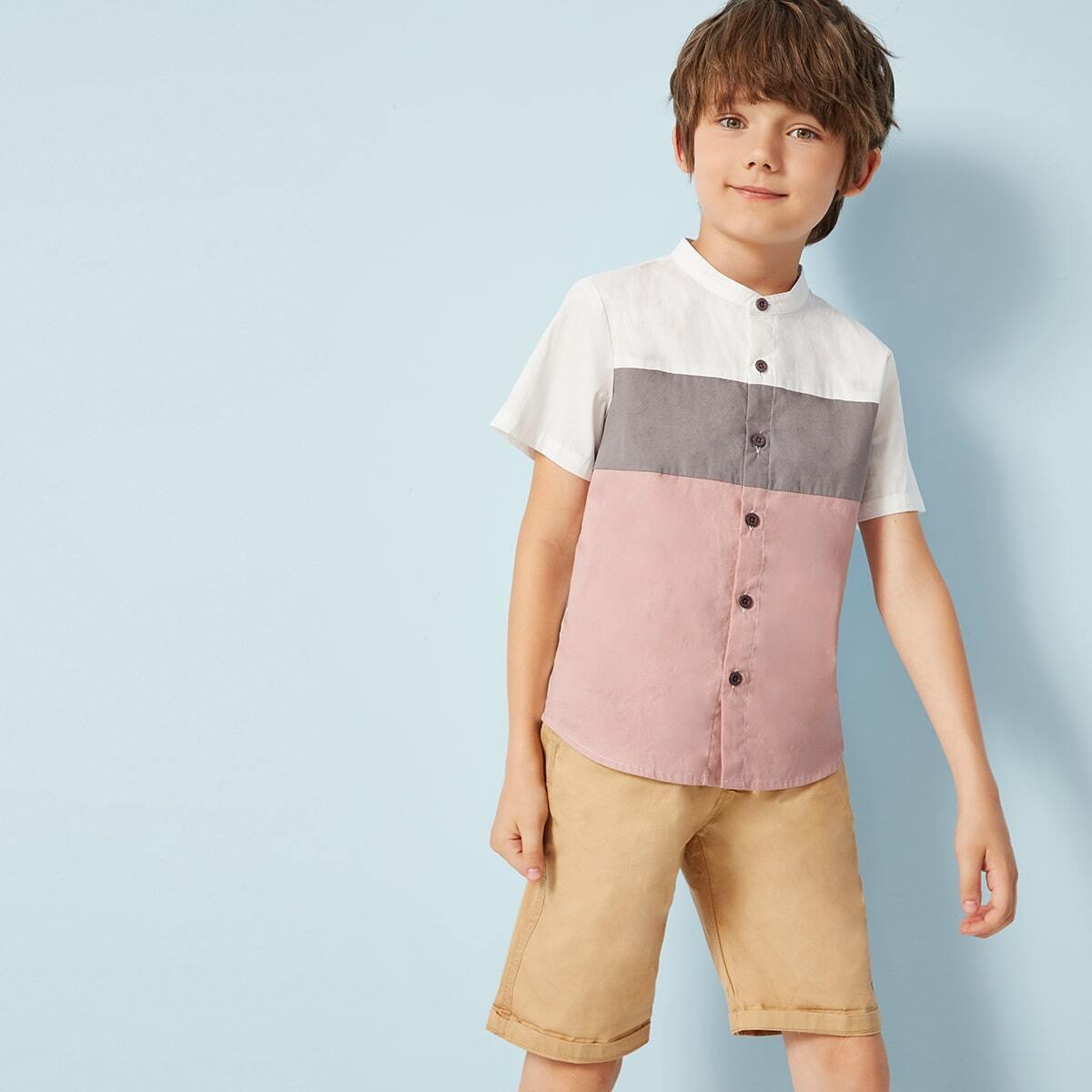 Кроить и шить рубашка с воротником-стойка для мальчиков от SHEIN