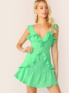 Neon Green Ruffle Trim Tie Back Dress
