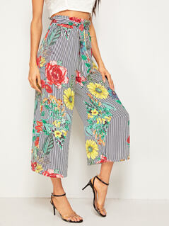 Mixed Print Paperbag Waist Wide Leg Pants