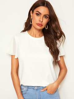 Flutter Sleeve Solid Top