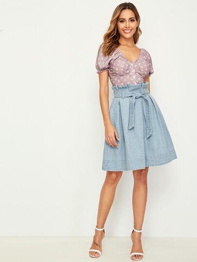 Фото 6 - Блузу в горошек и юбка для девочек от SheIn цвет многоцветный