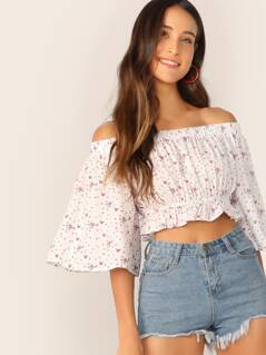 Ditsy Floral Off Shoulder Ruffle Top