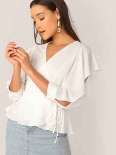 Split Sleeve Wrap Belted Top