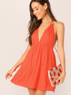 Neon Orange Backless Plunging Halter Neck Slip Dress
