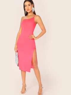 Neon Pink One Shoulder Split Thigh Form Fitted Dress