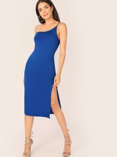 One Shoulder Split Thigh Form Fitted Dress