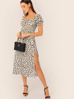 Tie Neck Shirred Waist Split Thigh Dalmatian Dress