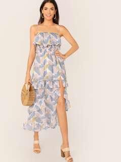 Ruffle Foldover Shirred Split Thigh Leaf Print Layered Dress