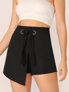 Grommet Eyelet Tie Front Wrap Shorts