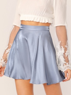 Solid Satin Skater Skirt