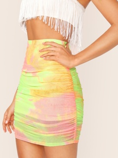 Ruched Side Tie Dye Bodycon Skirt