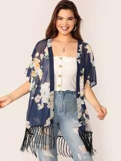 Plus Macrame Fringe Detail Floral Kimono