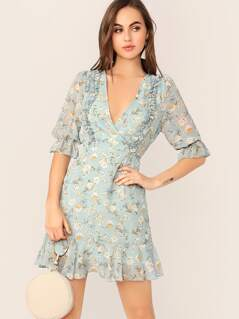 Frill Trim Ditsy Floral Wrap Dress
