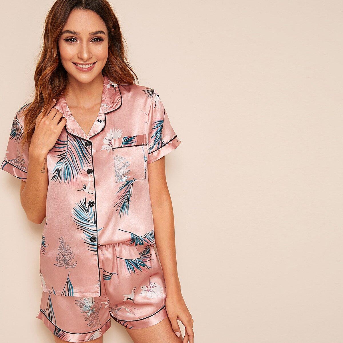 Roze  Casual Dieren Lounge kleding Knoop