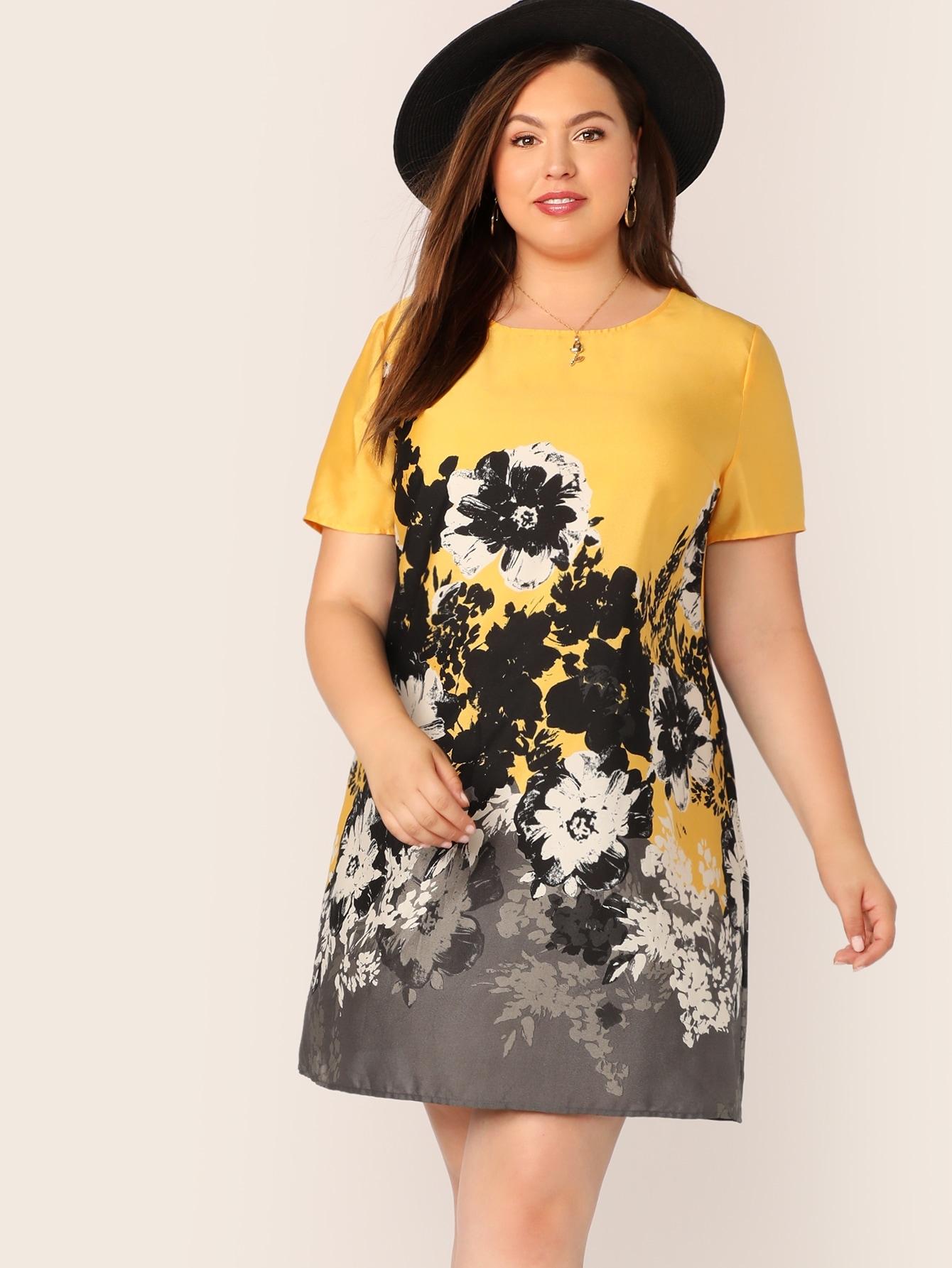 Фото - Платье размера плюс с цветочным принтом от SheIn цвет многихцветные