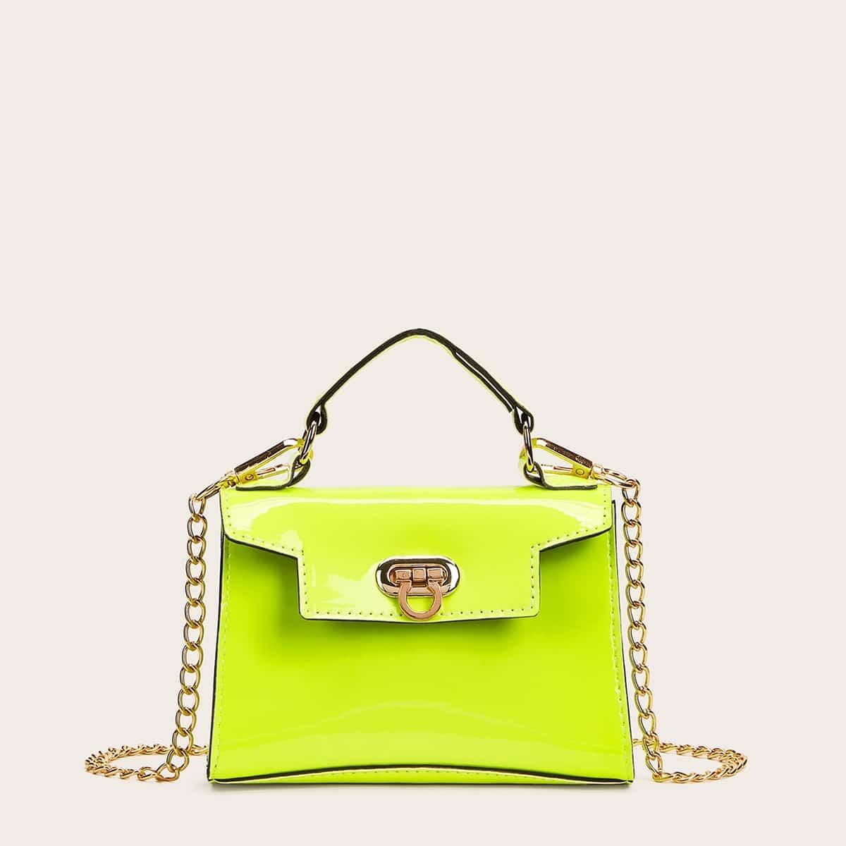 Неоновая зеленая сумка-портфель с металлическим замком от SHEIN