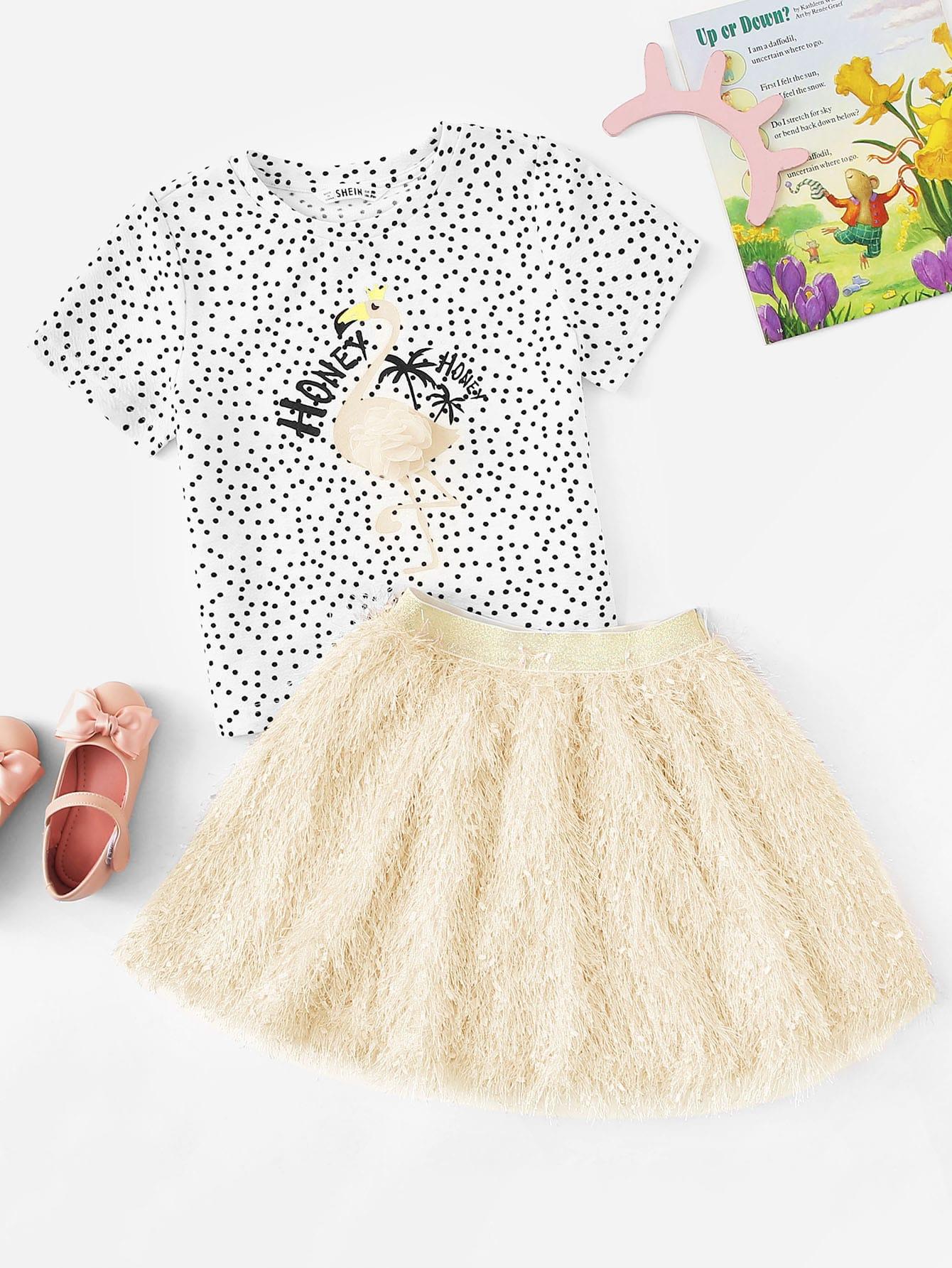 Фото - Юбку с бахромой и топ с пятнистым принтом и вышивкой для девочек от SheIn цвет многоцветный