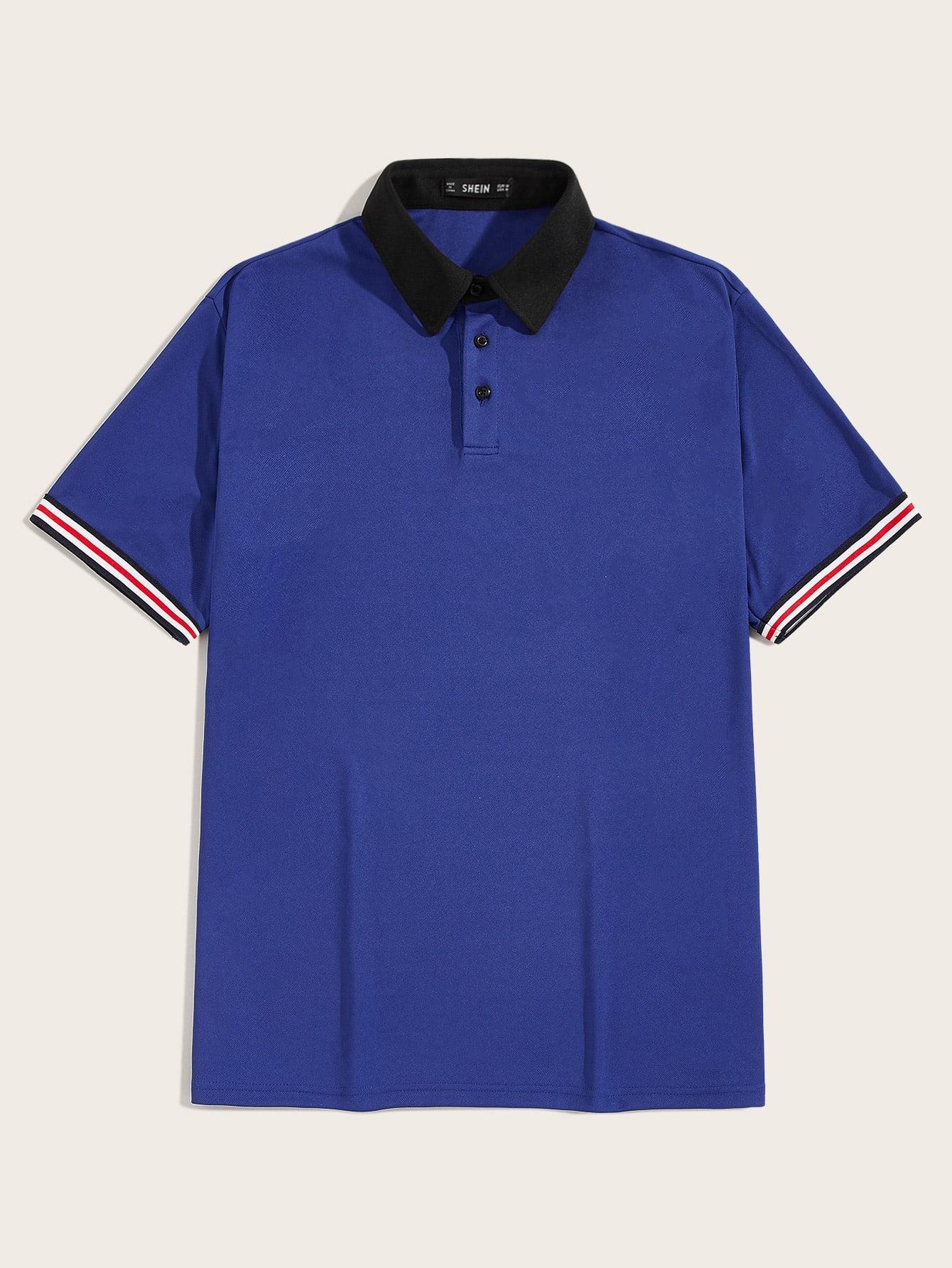 Фото - Мужская рубашка-поло в полоску с контрастным вырезом от SheIn синего цвета