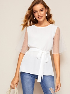 Pearl Beaded Mesh Flutter Sleeve Belted Top
