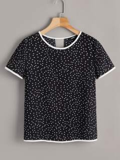 Cut Out Back Polka Dot Ringer Top