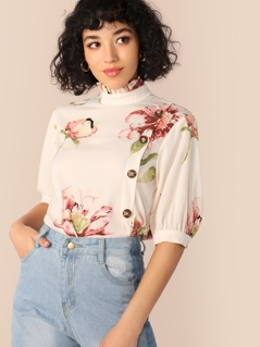 Frilled Neck Button Detail Floral Top