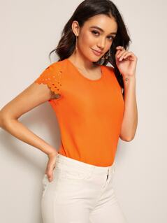 Neon Orange Laser Cut Cuff Solid Blouse