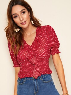 Ruffle Trim Shirred Waist Polka Dot Top