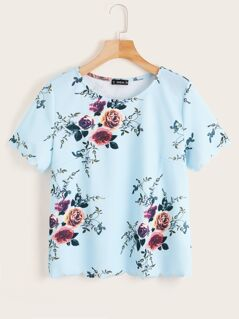 Scallop Trim Floral Print Top