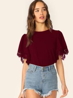 Lace Trim Flutter Sleeve Top