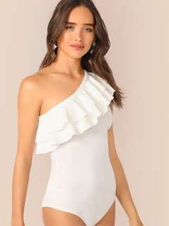 One Shoulder Layered Ruffle Trim Bodysuit