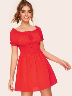 Neon Orange Ruffle Trim Shirred Waist Bardot Dress