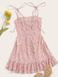 Knot Strap Shirred Back Ditsy Floral Dress