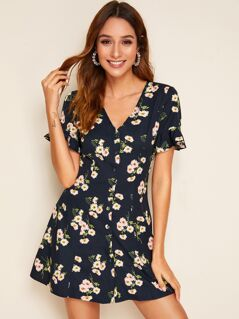 Single Breasted Ruffle Cuff Floral Print Dress