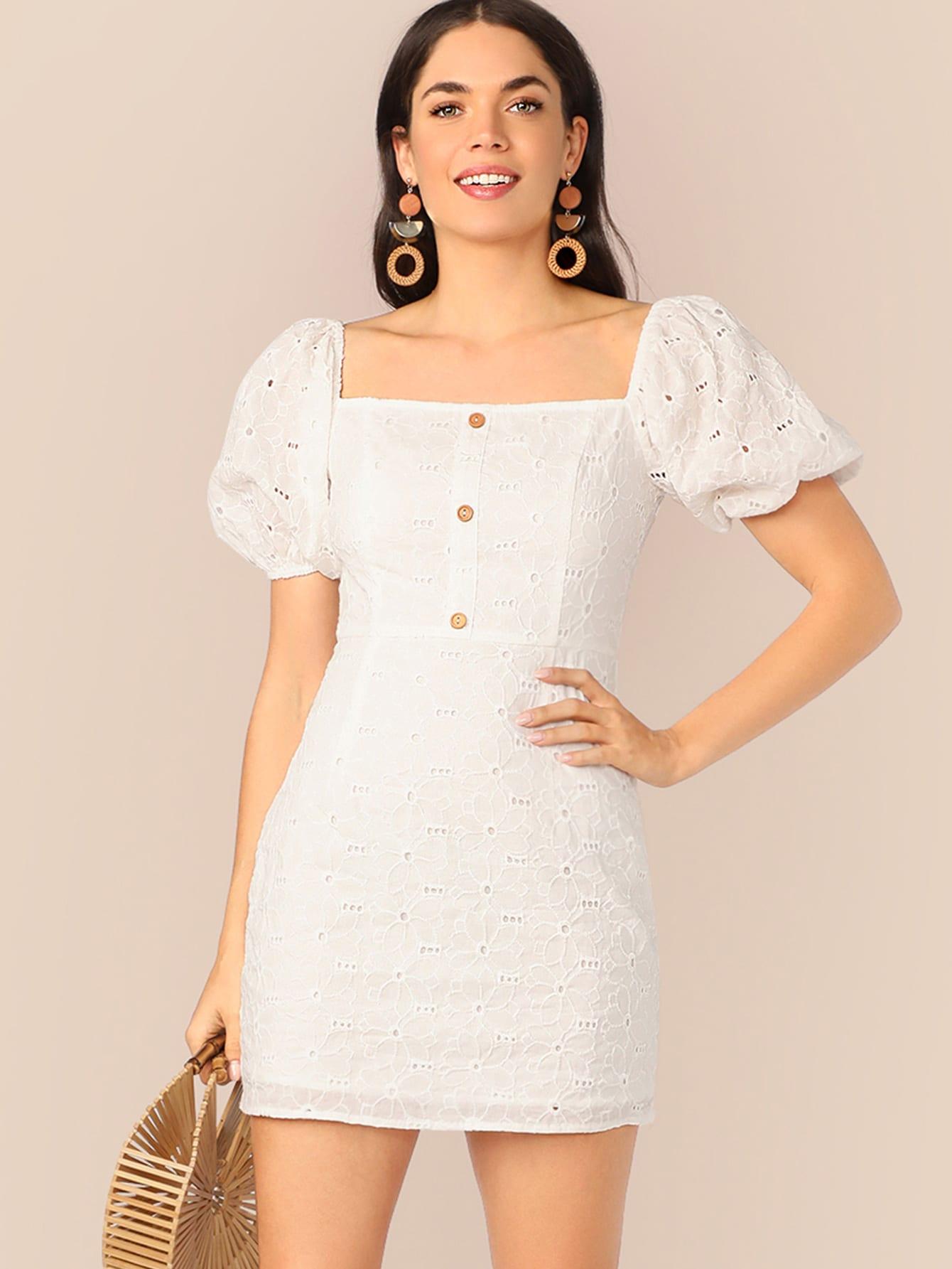 Фото - Платье с оригинальным рукавом и пуговицами от SheIn цвет белые