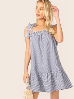Knot Shoulder Drop Waist Striped Dress