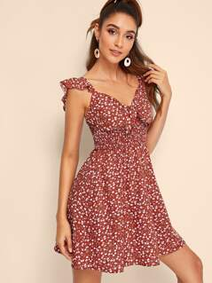 Ditsy Floral Shirred Waist Peekaboo Sundress