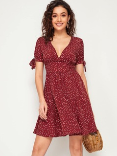 Knot Cuff Fit and Flare Polka Dot Dress