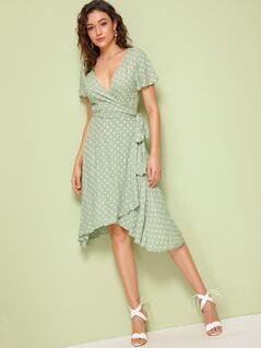 Deep V Neck Polka-dot Print Wrap Knotted Dress