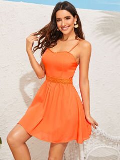 Neon Orange Lace Trim Skater Slip Dress