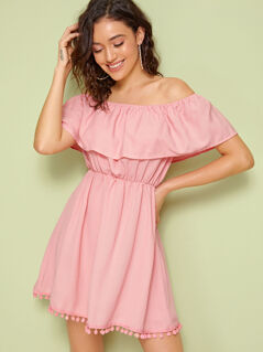 Solid Pompom Hem Off Shoulder Dress